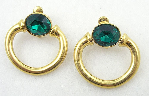 Newly Added Givenchy Emerald Glass Hoop Earrings