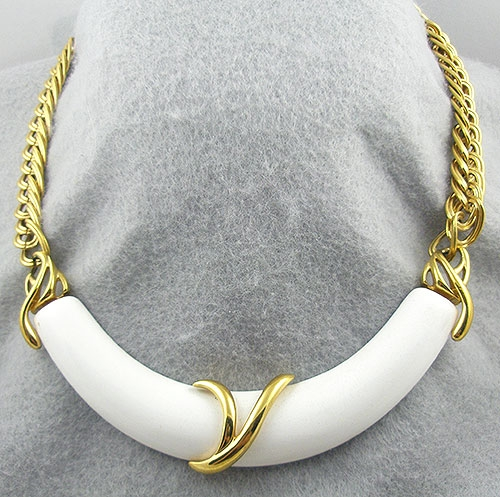 Newly Added Monet Gold Chain White Centerpiece Necklace