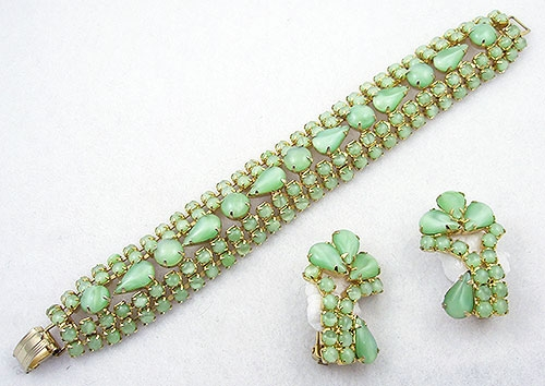 Newly Added Light Green Glass Moonstone Bracelet Set