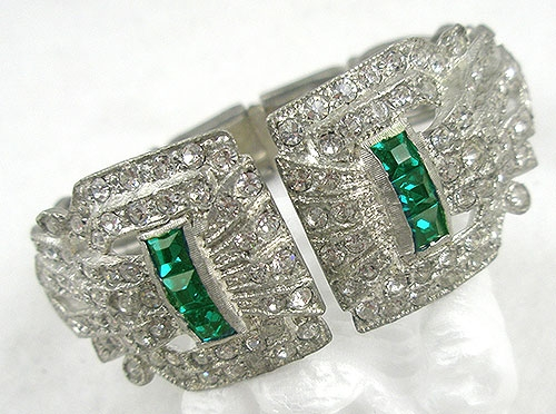 Newly Added Art Deco Rhinestone Hinged Clamper Bracelet