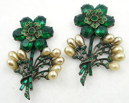 Newly Added Eisenberg Original Flowers Dress Ornaments Pair