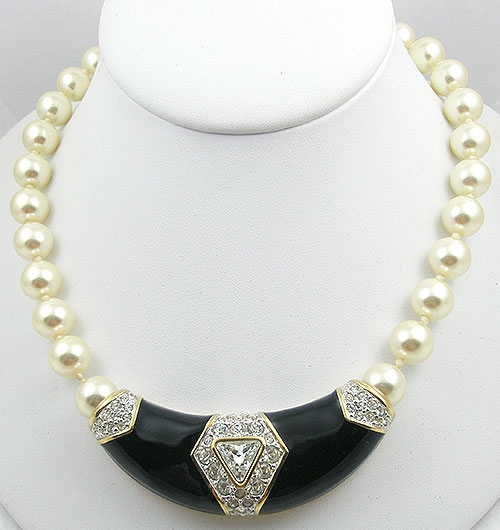 Newly Added Vintage Swarovski Pearl Black Enamel Necklace