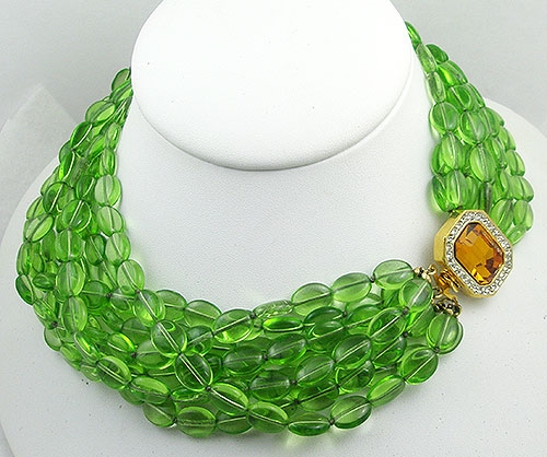 Newly Added Kenneth Lane Green Glass Bead Torsade Necklace