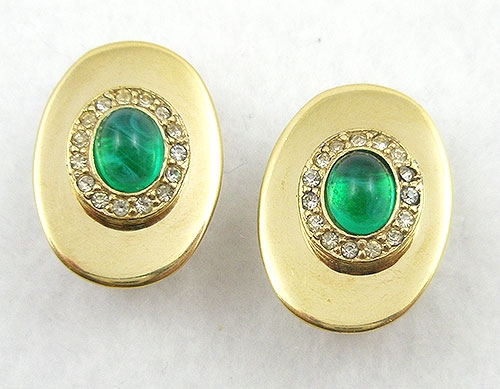 Newly Added Ciner Green Glass Cabochon Earrings