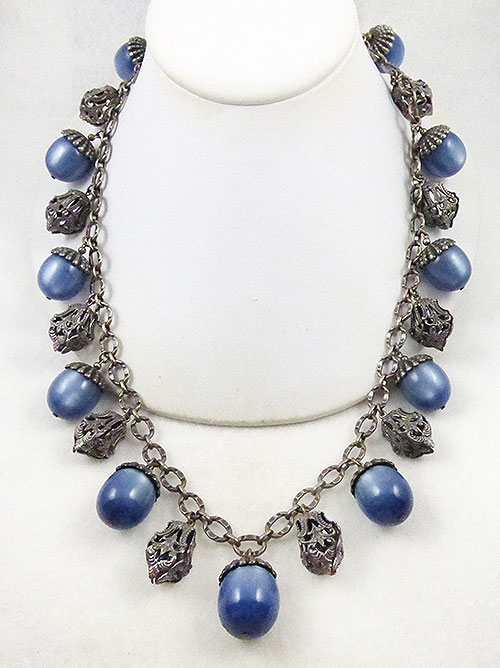 Newly Added Napier Blue Moonglow Etruscan Charm Necklace