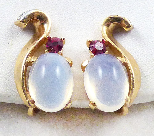Newly Added Trifari Moonstone Earrings