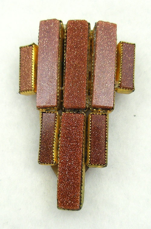 Newly Added Art Deco Goldstone Dress Clip