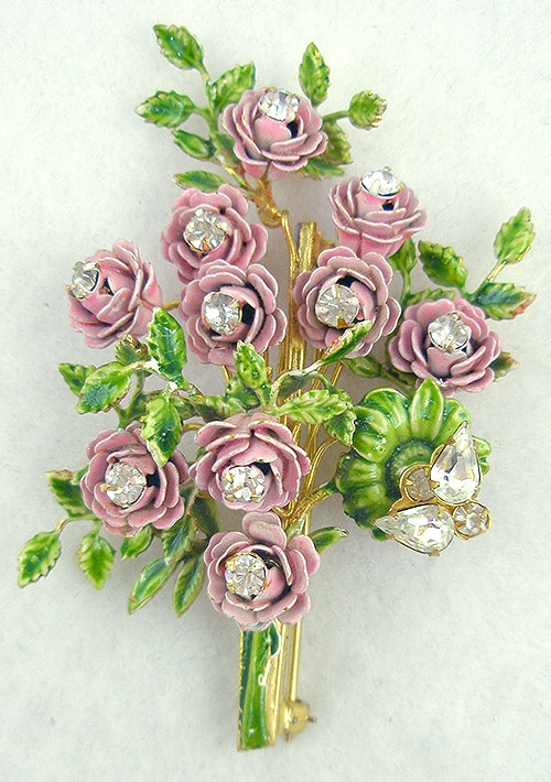 Newly Added Pink Enameled Roses Bouquet Brooch