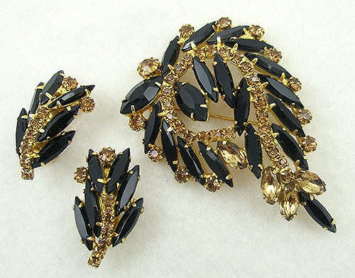 Newly Added DeLizza & Elster Black & Topaz Rhinestone Brooch Set