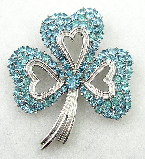 Newly Added Trifari Aqua Shamrock Brooch