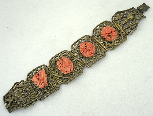 Newly Added Antique Chinese Silver Carved Coral Bracelet