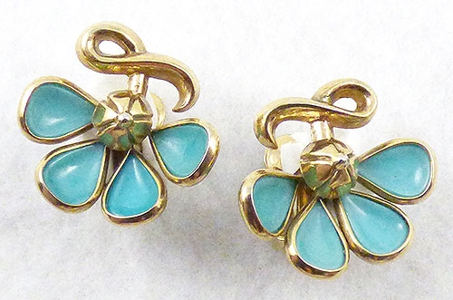 Newly Added Trifari Aqua Glass Petal Earrings