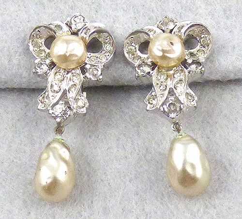 Newly Added Mazer Rhinestone Pearl Drop Earrings