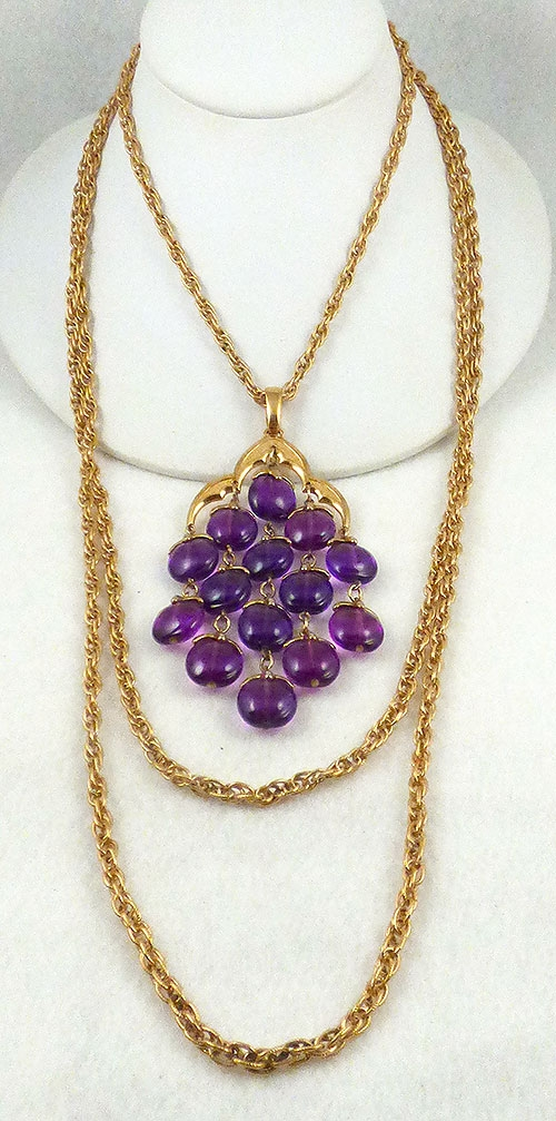 Trifari Purple Lucite Waterfall Necklace Garden Party