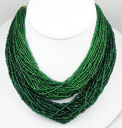 Newly Added Green Bugle Bead Torsade necklace