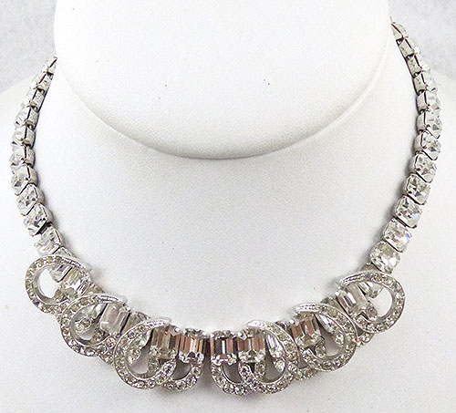Newly Added Eisenberg Rhinestone Baguette Necklace