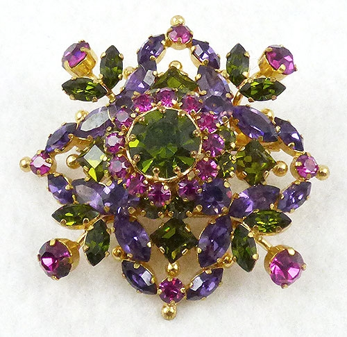 Newly Added Austria Purple, Pink, Peridot Rhinestone Brooch