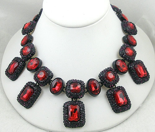 Newly Added Contemporary Japanned Red Rhinestone Necklace