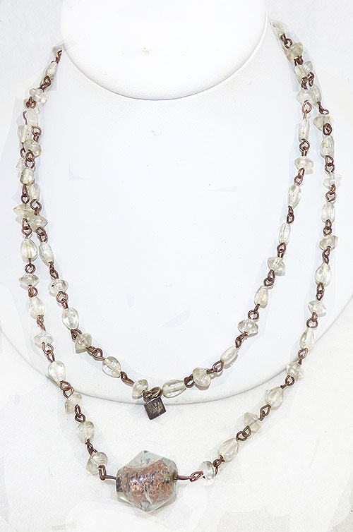 Newly Added Marc Labat Clear Glass Bead Necklace