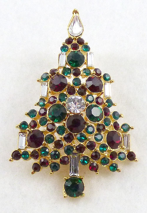 Newly Added Lisner Rhinestone Christmas Tree Brooch