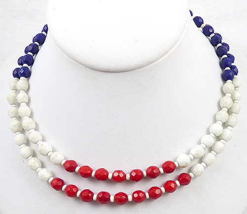 Newly Added Hobé Patriotic Glass Bead Necklace