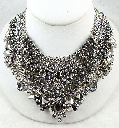 Newly Added Hematite and Rhinestone StatementNecklace