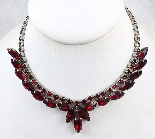 Newly Added Ruby Red Navette Rhinestone Necklace