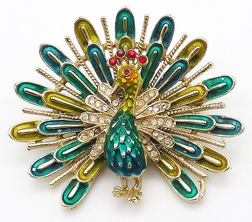 Newly Added Coro Enameled Peacock Brooch