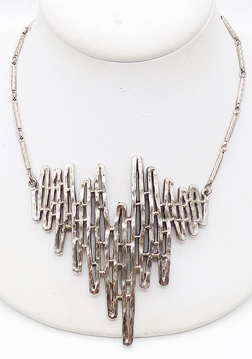 Newly Added Celebrity Silver Tone Brutalist Necklace