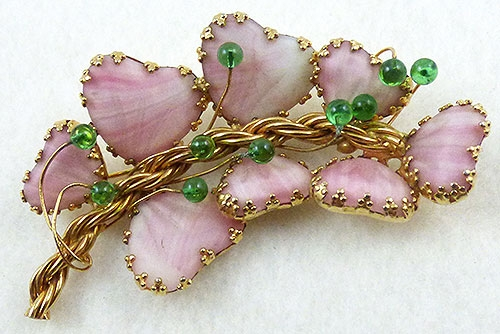 Newly Added Hobé Pink Mayorka Petal Brooch