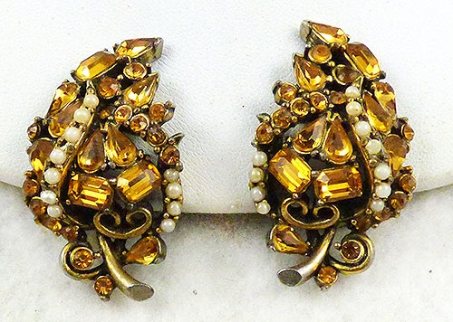 Newly Added Hollycraft 1953 Topaz Rhinestone Earrings