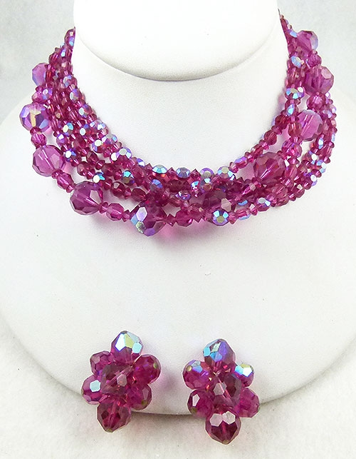Newly Added Hattie Carnegie Fuchsia Crystal Necklace Set