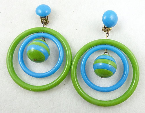 Newly Added Hong Kong Blue & Green Hoop Earrings