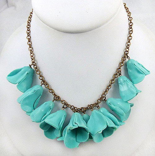 Newly Added Aqua Celluloid Tulips Necklace