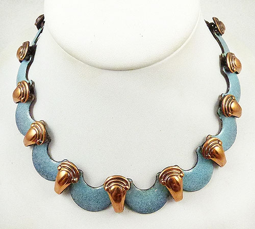 Newly Added Matisse Blue Scallops Copper Necklace
