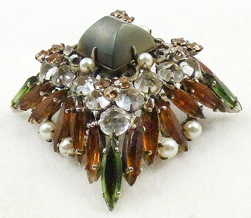 Newly Added Schreiner Sugarloaf and Navette Rhinestone Brooch