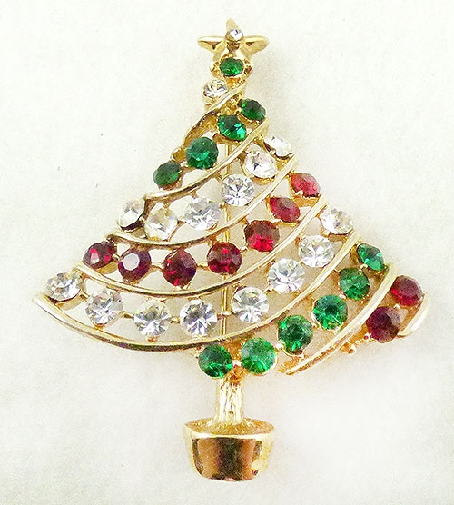 Newly Added Rhinestone Christmas Tree Brooch