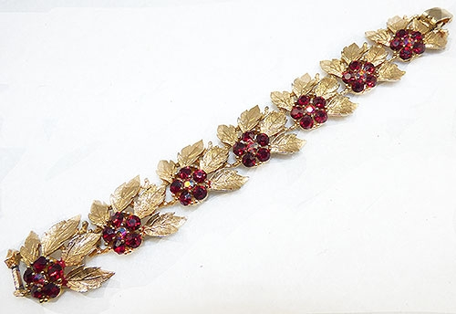Newly Added Lisner Red Rhinestone Flowers Bracelet