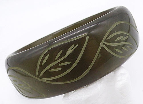 Newly Added Olive Green Moonglow Lucite Bangle
