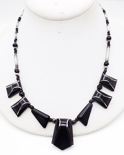 Newly Added French Art Deco Black Glass Necklace