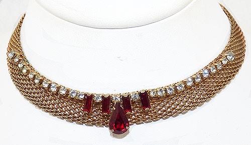 Newly Added Gold Mesh Red Rhinestone Necklace