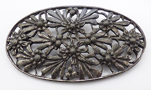 Newly Added Art Nouveau Metal Flowers Sash Pin