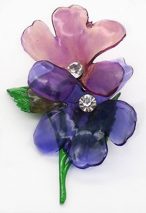 Newly Added Purple Cellulose Acetate Flower Brooch