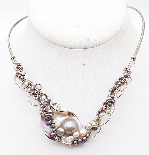 Newly Added Mexican Sterling Pearls Rigid Collar Necklace