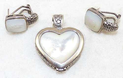 Newly Added Sterling Mother-of-Pearl Reversible Heart Pendant Set