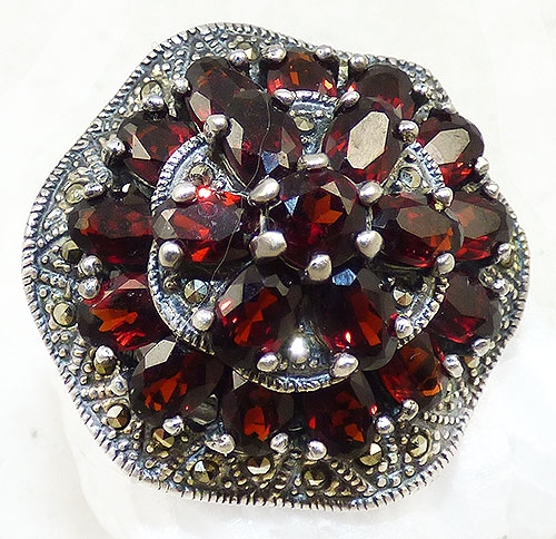 Newly Added Sterling Garnet Marcasite Statement Ring