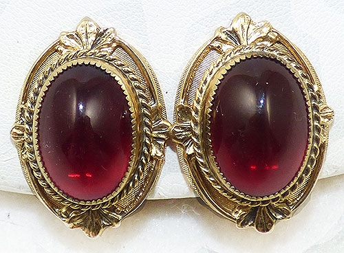 Newly Added Whiting & Davis Red Cabochon Earrings