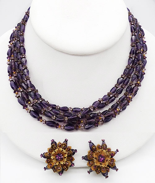 Newly Added Miriam Haskell Amethyst Beads Necklace Set
