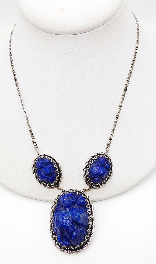 Newly Added Lapis Glass Nugget Necklace