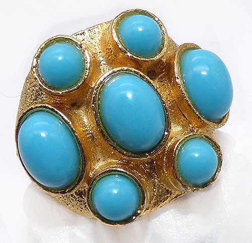 Newly Added Turquoise Glass Cabochon Costume Ring